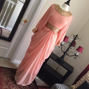 Dresses & Skirts - Coral Kaftan with Gold colored beads